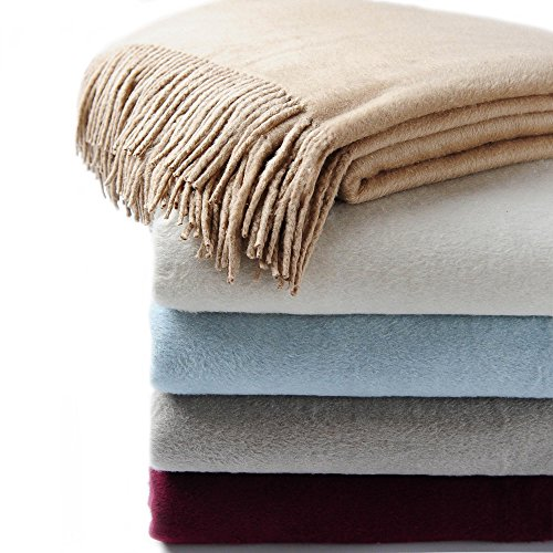 CUDDLE DREAMS Exclusive Mulberry Silk Throw Blanket with Fringe, Naturally Soft, Breathable (Taupe) ()