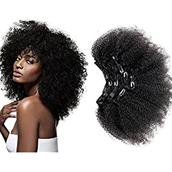 Afro Kinky Curly Clip in Human Remy Hair Extensions Brazilian Curly Clips Hair Extensions 4B 4C 8A Virgin Thick Natural Black Color Clip on For Black Women 10 inch