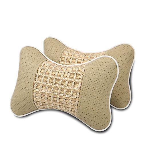 Meiyiu Car Neck Pillow Simple Casual Breathable Auto Rest Cushion Comfortable Soft Pillows Beige 2Pcs