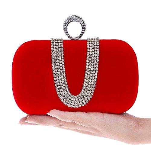 pour à d'embrayage avec courroie perles Bourse main femme le en sac noir main Sac 5x10x16cm de soirée Pour cristal femmes de de 2x4x6inch Rouge à de sac la d'embrayage xBnqYSzOw