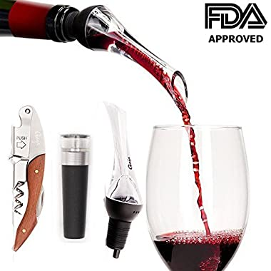Gaya Wine Accessories Set Bundle with Aerator/Oxygenator, Wine Vacuum Pump and Rosewood Corkscrew Opener