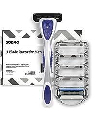 Amazon Brand – Solimo 3-Blade Razor for Men, Handle & 2 Refills