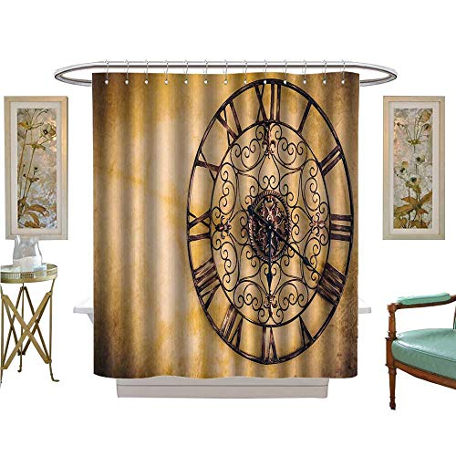 (luvoluxhome Shower Curtains Fabric Extra Long Vintage Clock Vintage Filter Fabric Bathroom Set with Hooks W72 x L96)