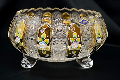Czech Bohemian Crystal Glass Bowl-Vase 10''-Width Hand Cut Hand Decorated Gold Plated Crystal Gift Vintage Lace Design Elegant Centerpiece Wedding Decor Fruits Desserts Candies Dish