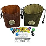 Third Die Dice Bag - Handcrafted, Reversible Drawstring Bag That Stands Open On The Table And Closes Tight - Soft Microfiber With Cool Celtic Knot Medallion - Deep Green and Moss Green