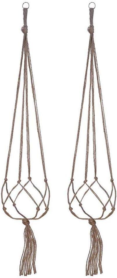 TONVER 2Pcs Colgante de plantas Maceta Maceta Cuerda de cáñamo Titular de la planta Tejido manual Cuerda para colgar Canasta para jardín Decoraciones de pared para el hogar, 90 cm
