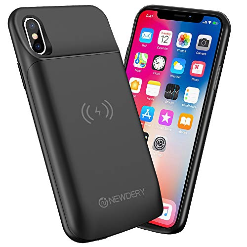 Newdery Upgraded iPhone X Xs Battery Case Qi Wireless Charging Compatible, 6000mAh Slim Extended Rechargeable External…