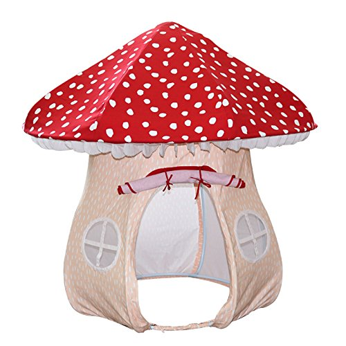 (ASWEETS Mushroom Home Cotton Canvas Play Tent, Red/Tan)
