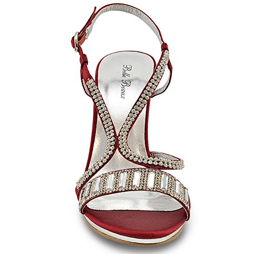 SIZE SHOES Satin 8 WOMENS PLATFORM DIAMANTE HIGH PROM LADIES Burgundy WEDDING 3 SANDALS HEEL ff0pzUWwq