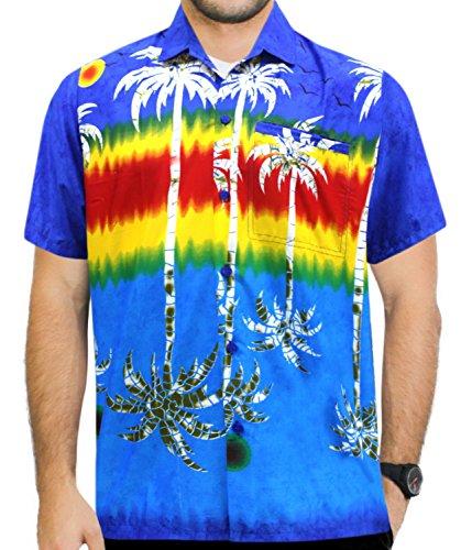 La Leela* Bouton de Palmier DHomme à Manches Courtes Poche Chemise Hawaïenne Bleu Ble