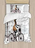 Ambesonne Teen Room Duvet Cover Set Twin Size, Young Girl in Paris Streets with Bicycle French Style Display, Decorative 2 Piece Bedding Set with 1 Pillow Sham, Chestnut and Pale Brown Pearl