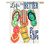 Evergreen Life Is Better In Flip Flops Outdoor Safe Double-Sided Linen House Flag, 28 x 44 inches Review