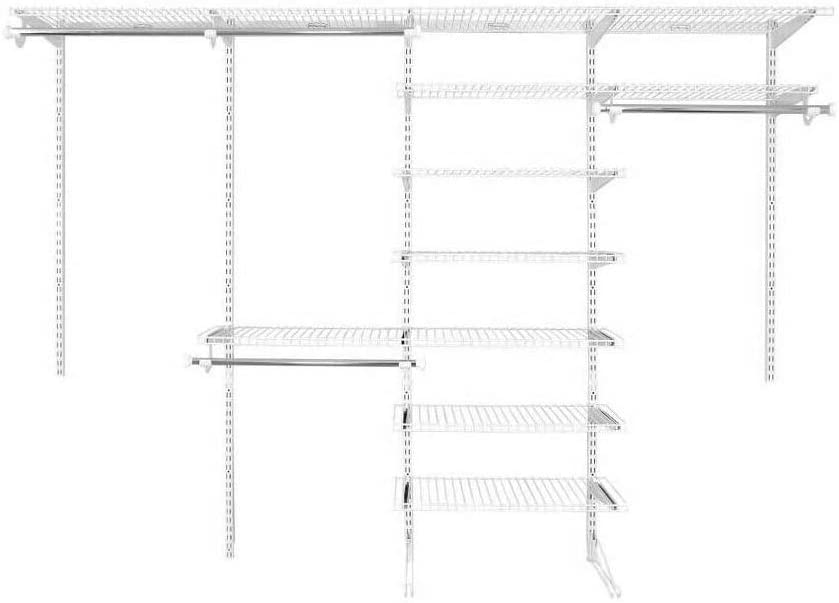 Rubbermaid Fasttrack 6 to 10 Ft Wide White Wire Custom Closet Organization Configuration Storage Kit