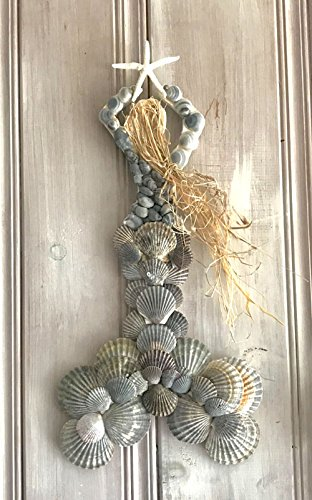 Scallop Shell Grey Lady Mermaid Wall Hanging With White Starfish, Cape Cod Seashell Art, Nautical Decor, Beach Home Accent Decoration (Scallop Shade Sea)