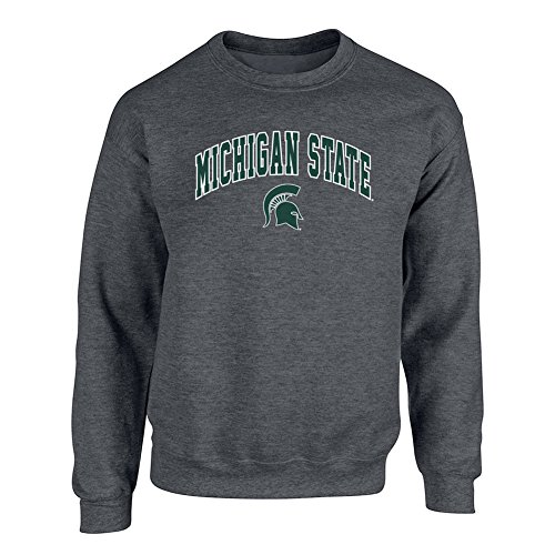 Elite Fan Shop NCAA Men's Michigan State Spartans Crewneck Sweatshirt Dark Heather Arch Michigan State Spartans Dark Heather XX Large