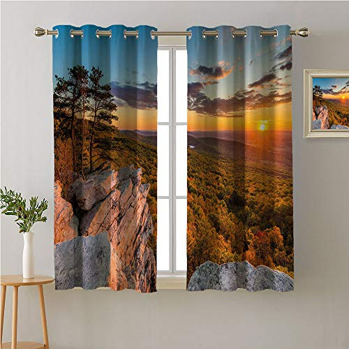 Jinguizi Appalachian Trail Grommets Curtain for Kids Room,Fascinating Scenery Photo of Sunset Over Forest View from Annapolis Rocks,Bedroom Darkening Curtains,84W x 72L