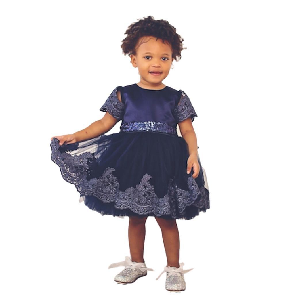 Palarn Little Girls Tutu Dresses, Lace Princess Bridesmaid Bridesmaid Party Wedding Dress (Dark Blue, 3T)