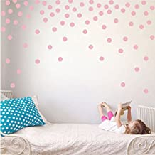 Polka Dot Circles Vinyl Wall Decor Stickers - Easy DIY Peel & Stick Removable Decorative Room Decals [Set of 160] (Carnation Pink, 2.2 inch dots)
