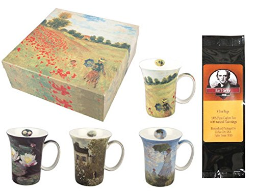 4 Monet Classics Coffee or Tea Mugs in a Matching Gift Box Bundle with 1 Gift Package of 6 Tea Bags (Monet Tea Set)