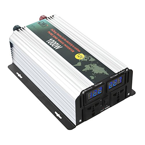 Tellunow Pure Sine Wave Solar Power Inverter 1000W Peak 2000W 12V To Ac 110V High Efficient Dc Power Inverters With LCD Display For Home, Car, Outdoor