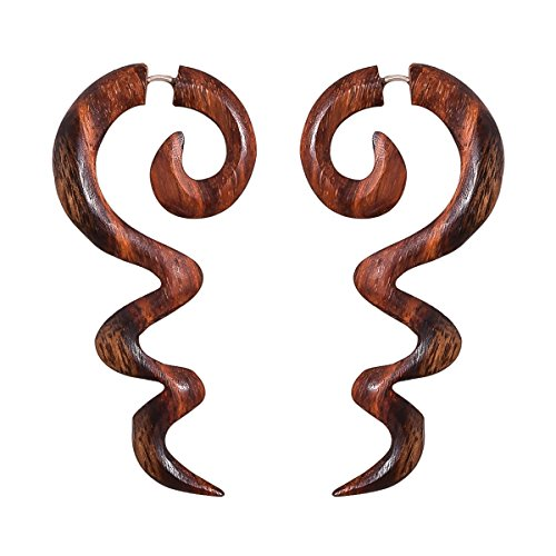 Crafted studio Womens Tibetan Antique Wooden Carved African Tribal Big Fake Gauge Earrings 2.6