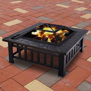 Generic JRT-AUS1-150909-979 [8-1211]   Metal Fir Outdoor 32  Metal Firepit Patio Garden Brazier New Square Stove Garden Fire Pit Brazier New Outdoor