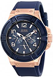 GUESS Men's U0247G3 Rigor Blue & Rose Gold-Tone Silcone Casual Sport Watch