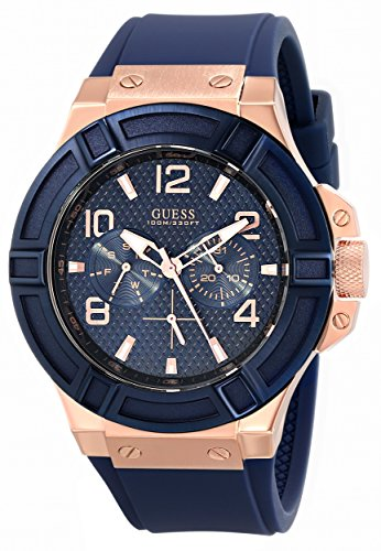 GUESS Mens U0247G3 Rigor Blue & Rose Gold-Tone Silcone Casual Sport Watch