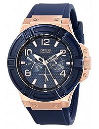 Guess Men's U0247G3 Blue Silicone Analog Quartz Watch