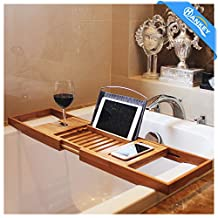 Bamboo Bathtub Caddy Tray (Extendable) Luxury Spa Organizer with Folding Sides | Natural, Ecofriendly Wood | Integrated Tablet, Smartphone, Wine, Book Holders