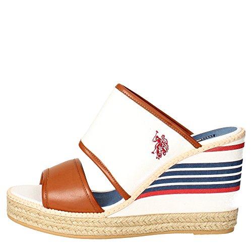 s cy1 Femme Blanc Tissu Polo Mules U Doras4083s6 Assn 7wqd6a6
