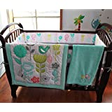 Blue Bird 8pcs Embroidered crib set Baby Girl Bedding Set Crib Bedding Set Boy Nursery Crib Bumper bedding with blanket