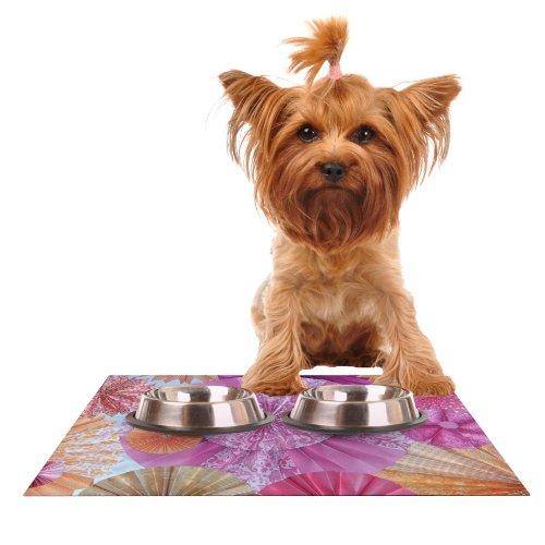 KESS InHouse Heidi Jennings Blossoming  Pink orange Feeding Mat for Pet Bowl, 24 by 15-Inch