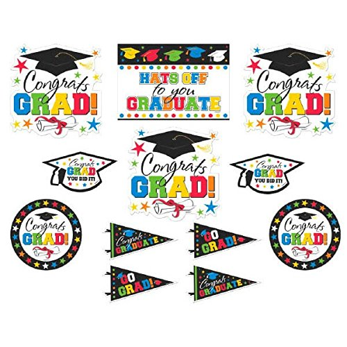 Amscan Congrats Grad! Graduation Party Wall Cutouts Decoration (Pack of 12), Multicolor, Assorted Sizes