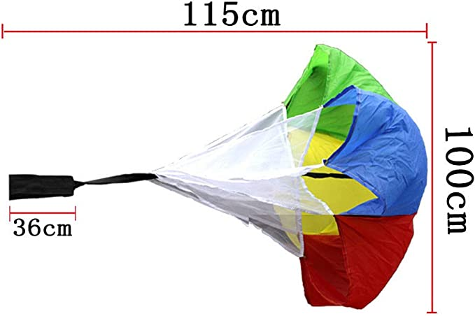 43 inch Running Drag Chute with Adjustable Waist Strap for Kids Youth Power Speed Training CZ-ING Multicolor Resistance Parachute