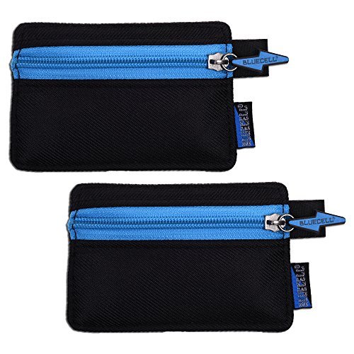 BCP 2pcs Black Color Splash Proof Nylon Security Utility Zipper Coin Safe Pouch ID Card VISA Card Business Card Bag Sleeve 4-1/2 x 3 Inches