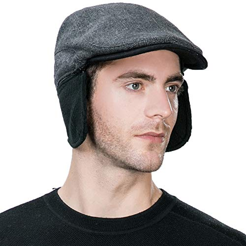 Winter Wool Newsboy Cap with Earflap Mens Fitted Ear Flaps Trapper Hat Black Ivy Flat Cap Driver Cap Cotton Lined L XL SIGGI