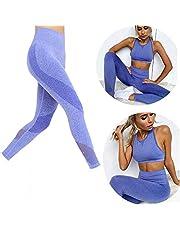 DDL Yoga de la Aptitud de los Pantalones de Yoga Usar Pantalones Deportivos de Malla de Costura sin Fisuras,S