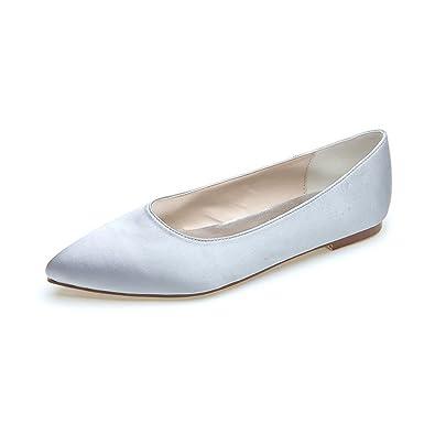 Duoai@ Flache Damenschuhe/Seide in Satin Damen Schuhe/Bankett/Hochzeit/Party/Weiszlig;/Hellblau/Mode Schuhe