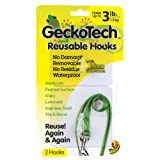 GeckoTech 282313 Removable, Reusable Hooks with Microsuction Technology, 3-Pound, 2-Pack