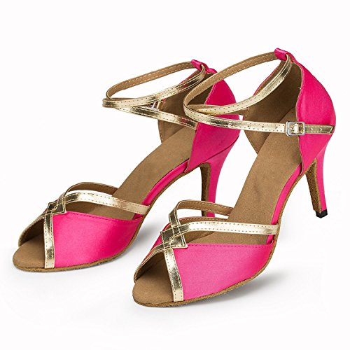 Minitoo Women's New Satin Latin Dance Shoes Evening Shoes Pink Knt0Q1CApY