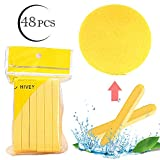 Facial Cleansing Sponge for Cleaning, 48 Pcs Compressed Face Round Makeup Puff Sponges Cleaning Stick, Portable Wash Pads Reusable Cosmetic Supplies for Face Cleanser