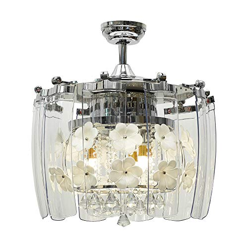 Huston Fan Modern Crystal Chandelier Fan with 10 Acrylic Take Off Blades for Indoor Dining Room Bedroom Kitchen Living Room LED Chandelier Fan Ceiling Remote-52 Inch Polished Silver