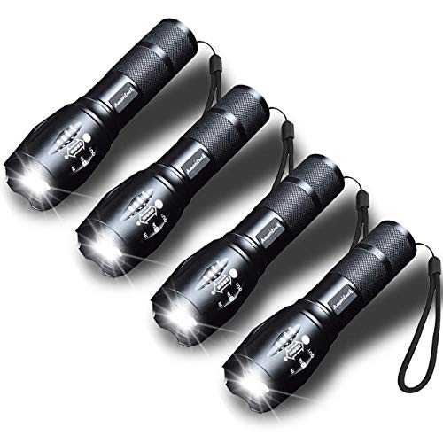 AmeriLuck 5 Handheld LED Flashlight, Aluminum Made Waterproof, Super Bright Zoomable 5 Modes, 3-Year Warranty (4 Pack)