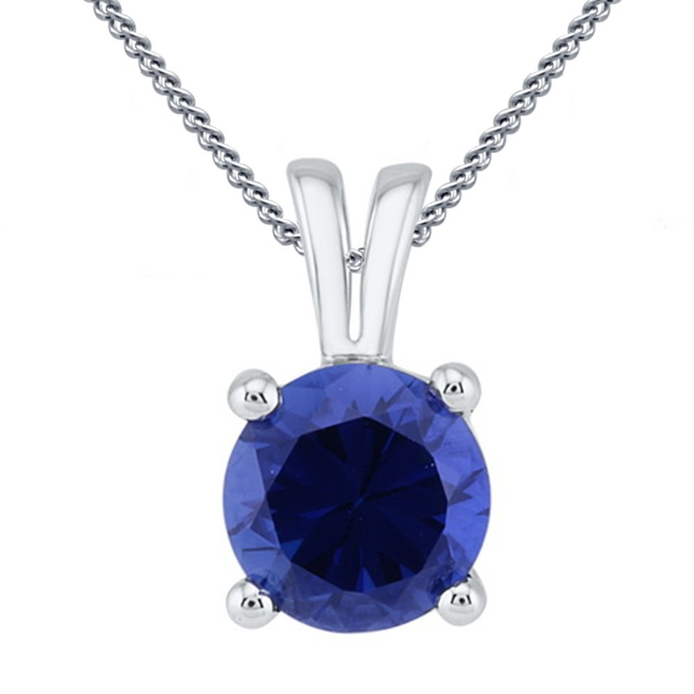 TVS-JEWELS White Plated 925 Silver Round Cut Blue Sapphire Pendant W// 18 Chain