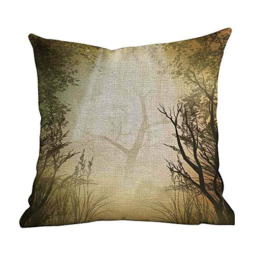 Custom Fashion Home Decor Pillowcase Mystic Forest Pale Yellow Covers Pillow Cases for Sofa Bedroom Bedding Car Home Decorative22 x22