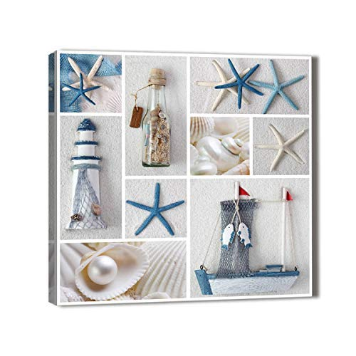 Beach Theme Wall Decor Marine Theme Canvas Wall Art Blue Starfish Prints Pearl Fishing Net Seashell Lighthouse Boat Drifting Bottle Fish on Beach Sand Canvas Prints Framed Single Panel 20x20inch (Pictures Lighthouse Framed)