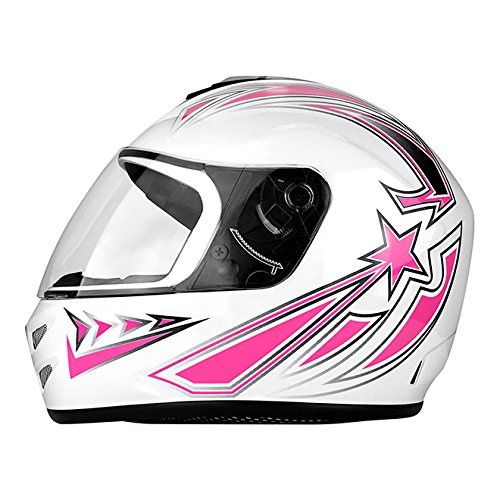 DOT Motorcycle Helmet Full Face Gloss White & Pink