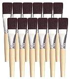 School Smart Black Bristle Long Handle Flat Paint Brush, 1 inch, Pack of 12