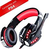 ECOOPRO Stereo Gaming Headset with Microphone - 3.5mm Over Ear Headphones - LED Lights & In-line Volume Control for PS4, PC, MAC, Mobiles (R Red)